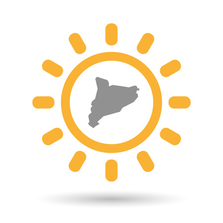 Illustration of an isolated line art sun icon with  the map of Catalonia