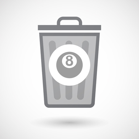 pool ball: Illustration of an isolated trash can icon with  a pool ball