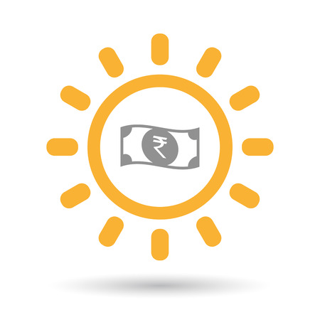 bank note: Illustration of an isolated line art sun icon with  a rupee bank note icon Illustration