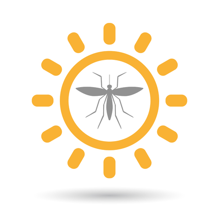 Illustration of an isolated line art sun icon with  a mosquito Illustration