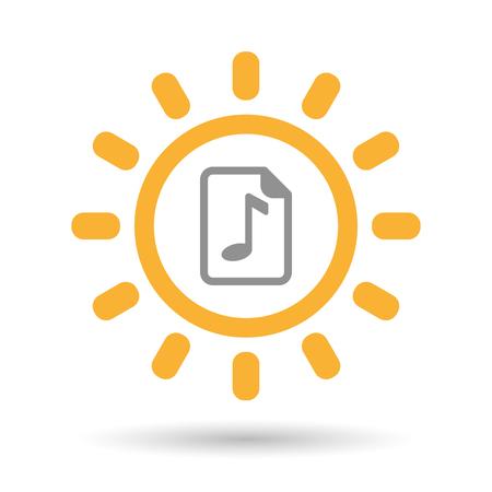 partition musique: Illustration d'un art de ligne ic�ne de soleil isol� avec une ic�ne de partition Illustration