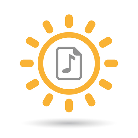 music score: Illustration of an isolated line art sun icon with  a music score icon