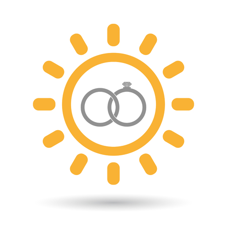 bonded: Illustration of an isolated line art sun icon with  two bonded wedding rings
