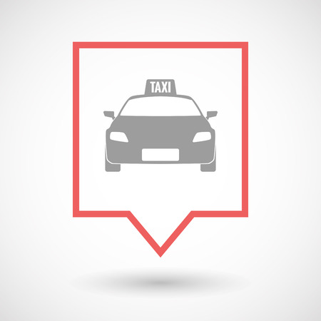 tooltip: Illustration of an isolated line art tooltip icon with  a taxi icon Illustration
