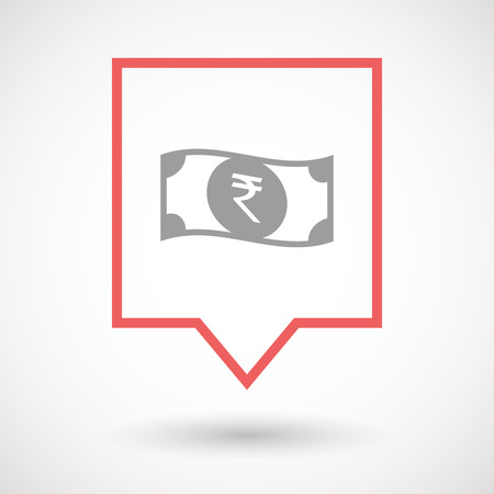 bank note: Illustration of an isolated line art tooltip icon with  a rupee bank note icon