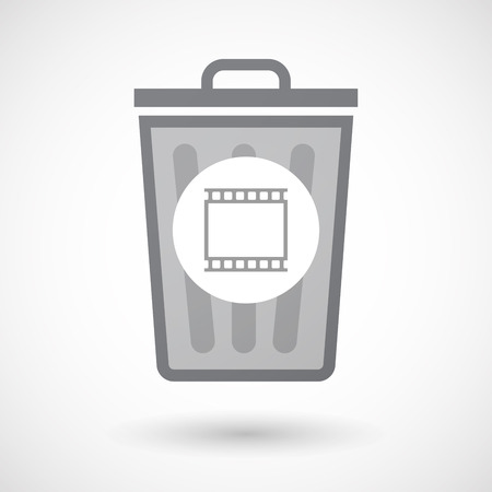 35mm: Illustration of an isolated trash can icon with   a photographic 35mm film strip