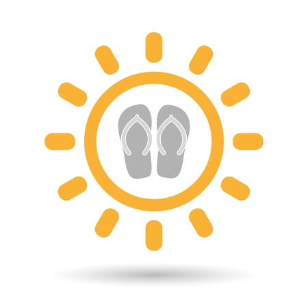 Illustration of an isolated line art sun icon with   a pair of flops