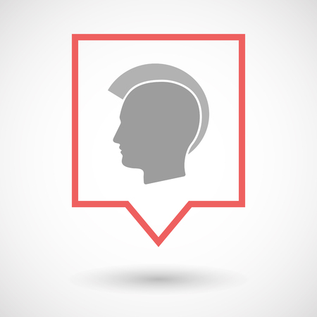 punk hair: Illustration of an isolated line art tooltip icon with  a male punk head silhouette