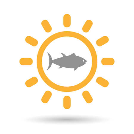 tuna fish: Illustration of an isolated line art sun icon with  a tuna fish Illustration
