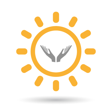 Illustration of an isolated line art sun icon with  two hands offering Illustration