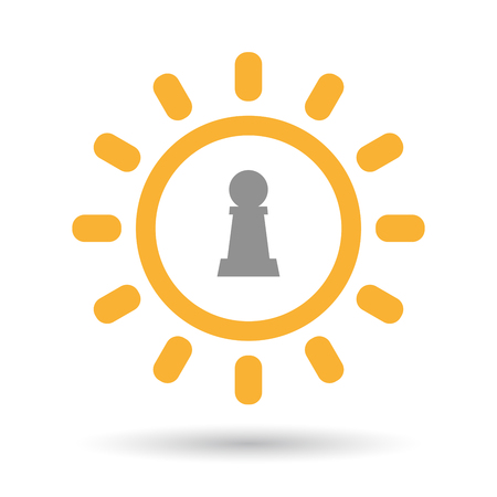 Illustration of an isolated line art sun icon with a  pawn chess figure