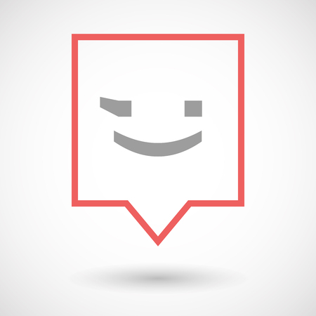 wink: Illustration of an isolated line art tooltip icon with  a wink text face emoticon