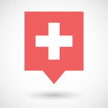 swiss flag: Illustration of an isolated line art tooltip icon with   the Swiss flag Illustration