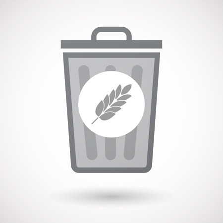 celiac: Illustration of an isolated trash can icon with  a wheat plant icon