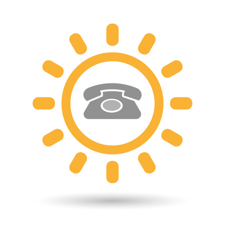 Illustration of an isolated line art sun icon with  a retro telephone sign Illustration