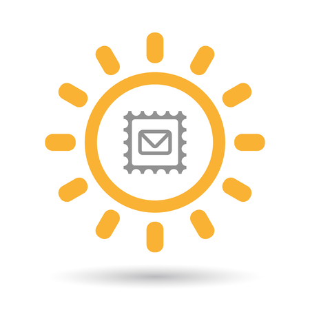 Illustration of an isolated line art sun icon with  a mail stamp sign Illustration