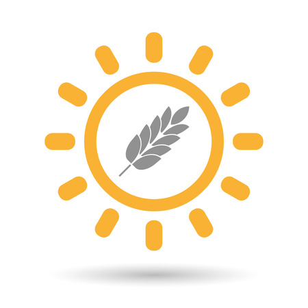 Illustration of an isolated line art sun icon with  a wheat plant icon
