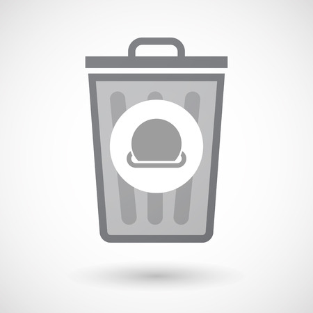 bucket of money: Illustration of an isolated trash can icon with  a r coin entering in a moneybox