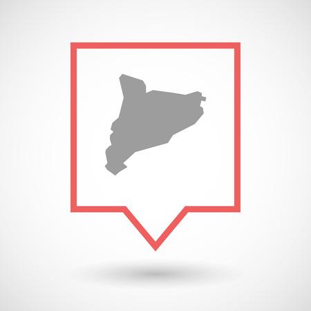 autonomia: Ilustración de un icono de la línea de arte sobre herramientas aislada con el mapa de Cataluña Vectores