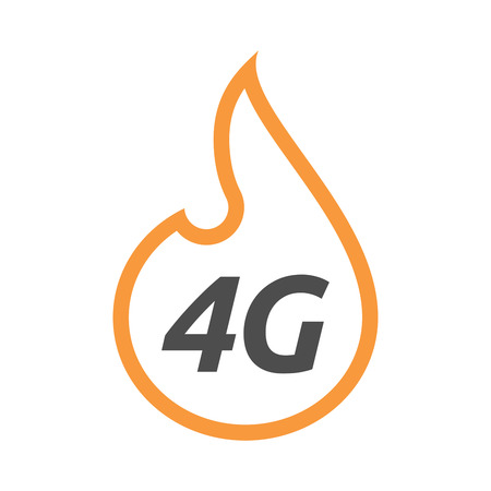 Illustration of an isolated line art flame with    the text 4G