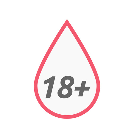 approval rate: Illustration of an isolated line art blood drop icon with    the text 18+ Illustration