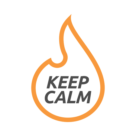 Illustration of an isolated line art flame with    the text KEEP CALM Illustration