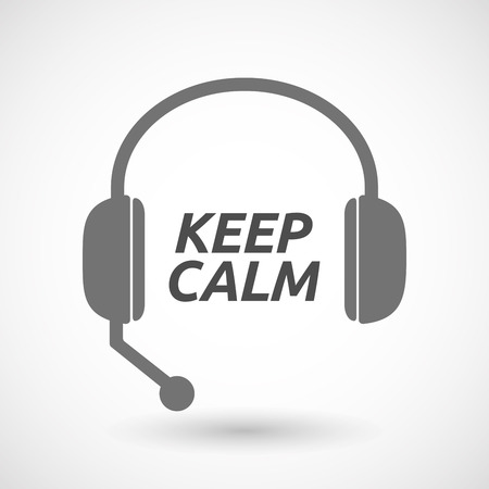 telemarketer: Illustration of an isolated  headset icon with    the text KEEP CALM