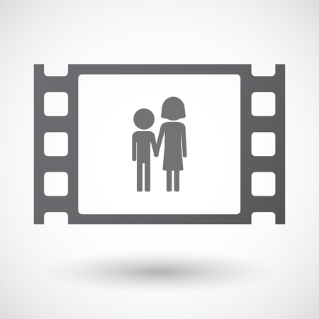 35mm: Illustration of an isolated 35mm film frame with a childhood pictogram