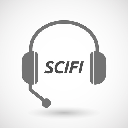 speculative: Illustration of an isolated  headset icon with    the text SCIFI Illustration