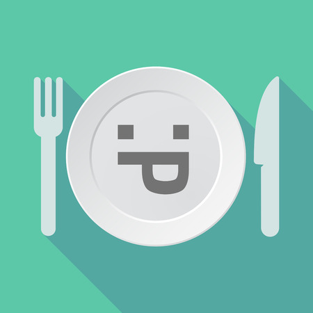 long tongue: Illustration of a long shadow tableware vector illustration with a sticking out tongue text face