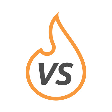 vs: Illustration of an isolated line art flame with    the text VS Illustration