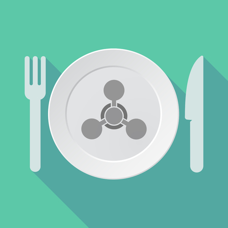 chemical weapon sign: Illustration of a long shadow tableware vector illustration with a chemical weapon sign