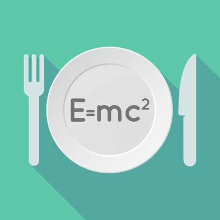 relativity: Illustration of a long shadow tableware vector illustration with the Theory of Relativity formula Illustration