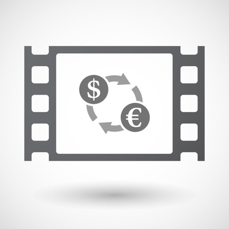 35mm: Illustration of an isolated 35mm film frame with a dollar euro exchange sign Illustration