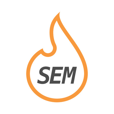 sem: Illustration of an isolated line art flame with    the text SEM