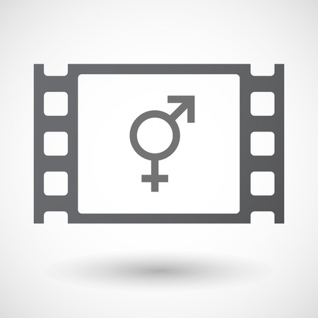 homosexual sex: Illustration of an isolated 35mm film frame with a bigender symbol