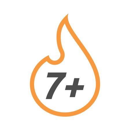 Ilustración de una llama de arte de línea aislada con el texto 7+ Vectores