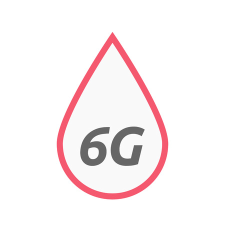 blood transfer: Illustration of an isolated line art blood drop icon with    the text 6G