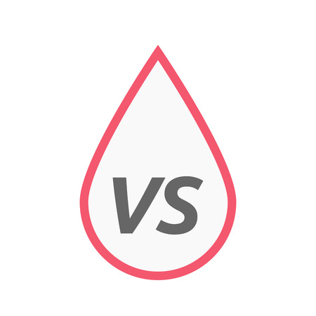 Illustration of an isolated line art blood drop icon with    the text VS