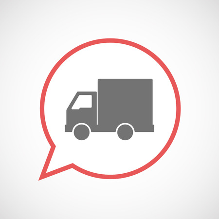 Illustration of an isolated comic balloon line art icon with a  delivery truck