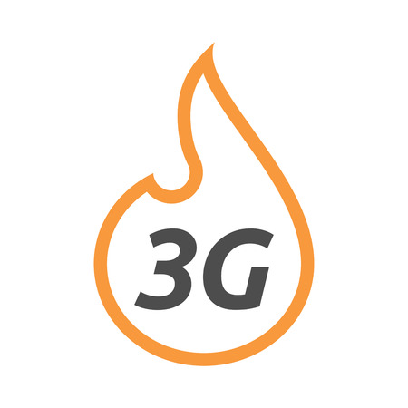 Illustration of an isolated line art flame with    the text 3G