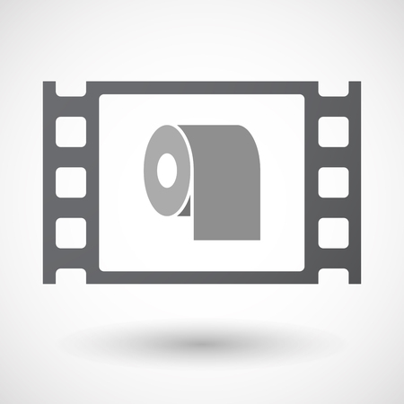absorbent: Illustration of an isolated 35mm film frame with a toilet paper roll