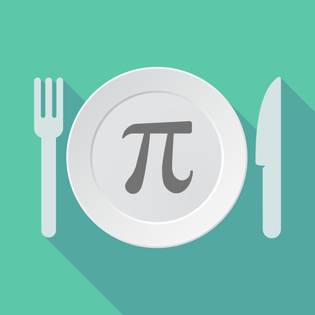 constant: Illustration of a long shadow tableware vector illustration with the number pi symbol