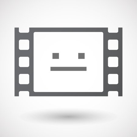 emotionless: Illustration of an isolated 35mm film frame with a emotionless text face