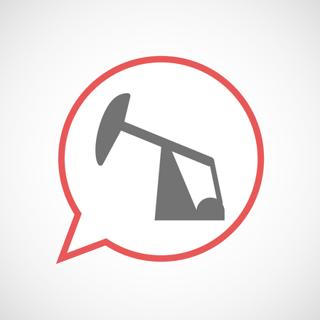 nodding: Illustration of an isolated comic balloon line art icon with a horsehead pump