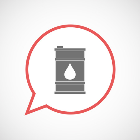 oil drum: Illustration of an isolated comic balloon line art icon with a barrel of oil
