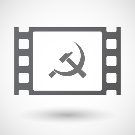 communist: Illustration of an isolated 35mm film frame with  the communist symbol