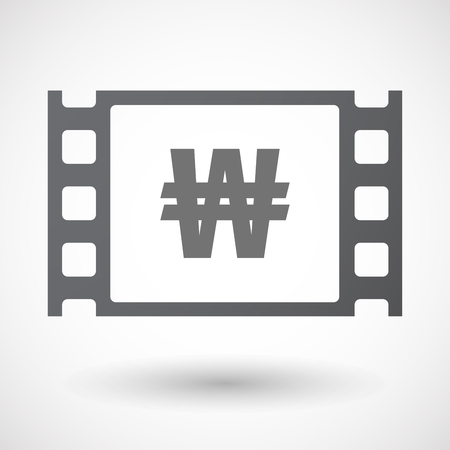 won: Illustration of an isolated 35mm film frame with a won currency sign Illustration