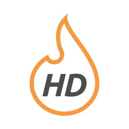 Illustration of an isolated line art flame with    the text HD Illustration