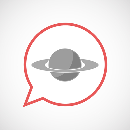 saturn rings: Illustration of an isolated comic balloon line art icon with the planet Saturn Illustration